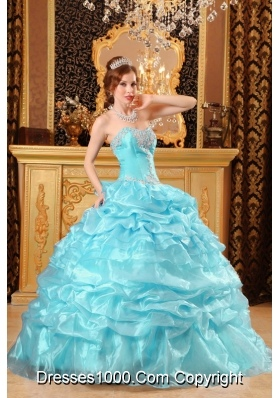Aqua Blue  Ball Gown Sweetheart Floor-length Quinceanera Dress with Organza Appliques
