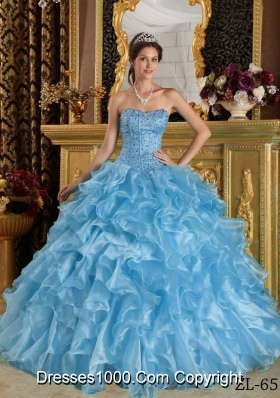 Aqua Blue  Ball Gown Sweetheart Floor-length Ruffles Quinceanera Dress  with Organza