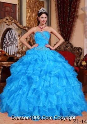 Aqua Blue Ball Gown Sweetheart Quinceanera Dress with Organza Beading
