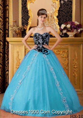 Aqua Blue Princess Sweetheart Beading Quinceanera Dress with Hand Made Flowers