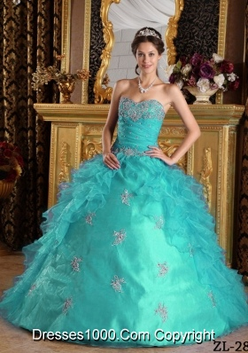 Beautiful Aqua Blue Sweetheart Ball Gown Ruffles Quinceanera Dress with Appliques