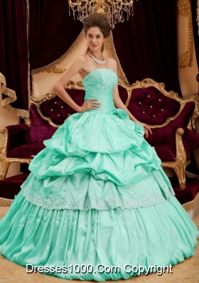 Beautiful Ball Gown Strapless Apple Green Quinceanera Dress  with Taffeta Appliques
