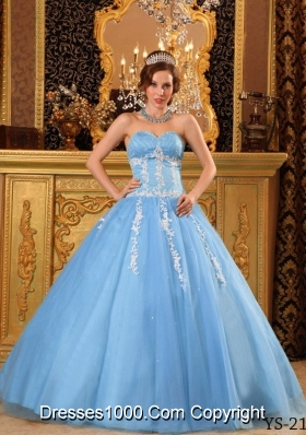 Popular Ball Gown Sweetheart Quinceanera Dress with  Tulle Appliques