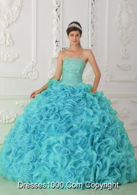 Strapless Organza Beading Ball Gown Quinceanera Dress in Blue