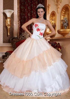Champagne and White Organza Embroidery Quinceanera Gowns