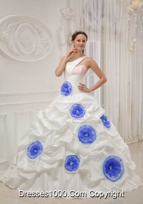One Shoulder White Quinceanera Gown with Beading and Hand Flowers