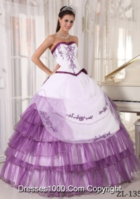 Puffy Sweetheart Sweet Sixteen Dresses with Purple Embroidery