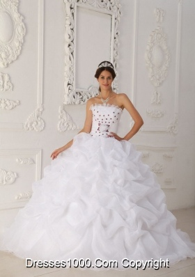 Strapless Court Train Organza White Quinceanera Dress with Hot Pink Hand Made Flowers