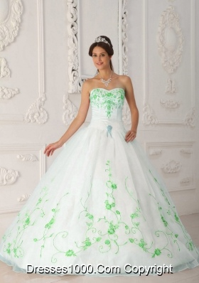Sweetheart Princess Organza Spring Green Embroidery Quinceanera Gowns Dresses
