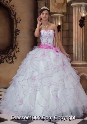 White Organza Embroidery and Ruffles Dresses For Quinceaneras