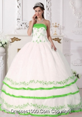 White Organza Quince Dresses with Beading and Green Embroidery