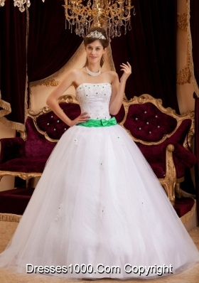 White Princess Strapless Appliques Dress For Quinceaneras with Turquoise Bow