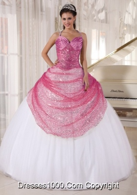 Halter Top Sequined Rose Pink and White Quinceanera Dresses