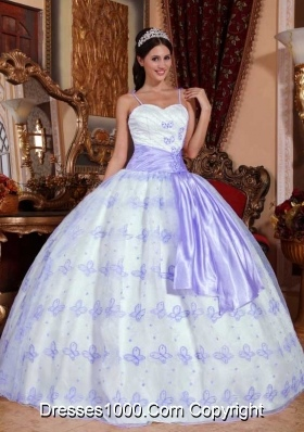 Lavender Spaghetti Straps Embroidery Ball Gown Sweet 15 Dresses