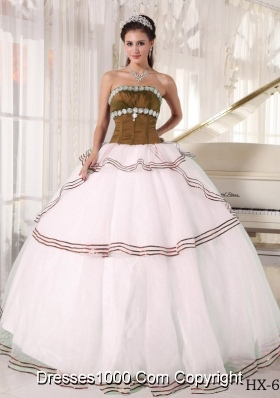 Puffy Brown and White Organza Appliques Dresses Quinceanera