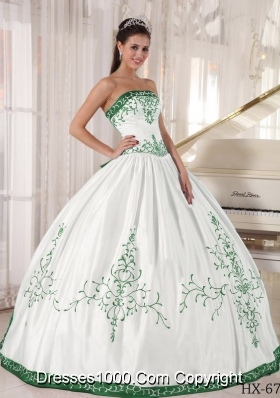 Puffy Green and White Embroidery Quinceanera Dresses Gowns