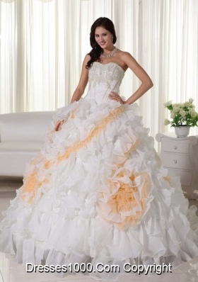 Sweetheart Court Train Organza Appliques and Ruffles White Sweet Sixteen Dresses