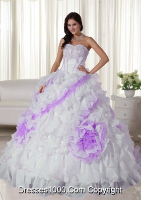 White Sweetheart Sweep Train Organza Appliques Quincenera Dresses with Ruffles