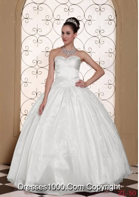 Cheap White Quinceanera Gown Sweetheart Beaded Decorate Bust