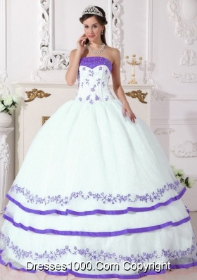 Classic White Sweet 16 Dresses with Beading and Purple Embroidery