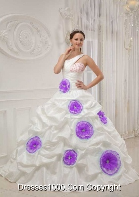One Shoulder Beaded White Sweet 16 Dresses with Purple Hand Made Flowers