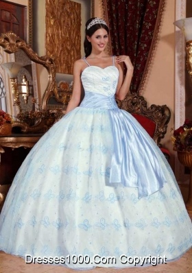 Puffy Spaghetti Straps Blue Embroidery Sweet Sixteen Dresses