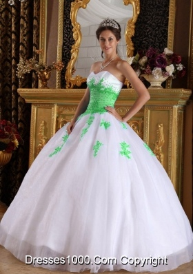 White Ball Gown Sweetheart Appliques Spring Green Quinceanera Gown