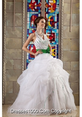 White Halter Organza Quinceanera Gown Dresses with Beading and Green Flower Belt