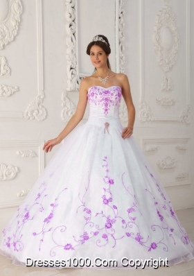 White Princess Strapless Quinceanera Dress with Purple Embroidery