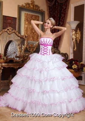 White Strapless Detachable Train Quinceaneras Dress with Pink Appliques and Layers