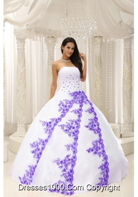Beautiful White Quinceanera Dresses with Purple Embroidery