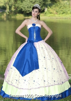 Flower Decorate Strapless White and Blue Quinceneara Dresses