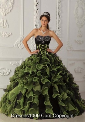 2014 Beautiful Green Puffy Sweetheart Beading Quinceanera Dresses with Ruffles
