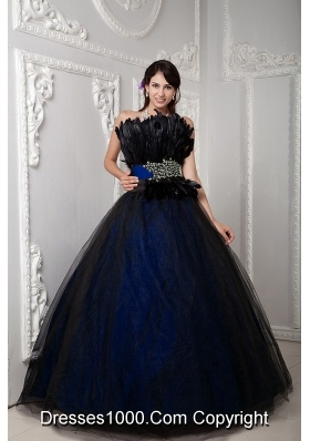 2014 Colourful Puffy Strapless Feather Quinceanera Dress with Sweet Sixteen Dresses