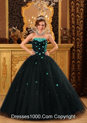 2014 Popular Puffy Black Appliques Quinceanera Dress with Beading