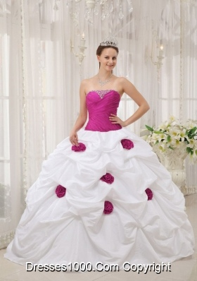 Beaded Strapless White Sweet 15 Dresses with Fuchsia Hand Made Flower