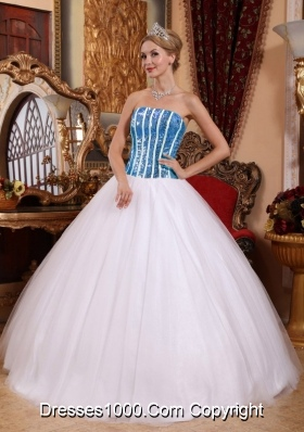 Bue Squins White Strapless Princess Dress For Quinceanera