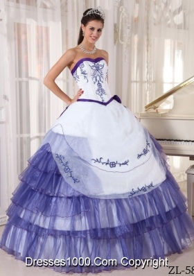Pretty Sweetheart White Quinceanera Dress with Purple Embroidery