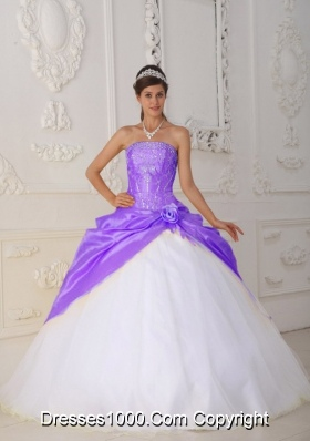 Purple Appliques and Hand Made Flower White Dresses For 15