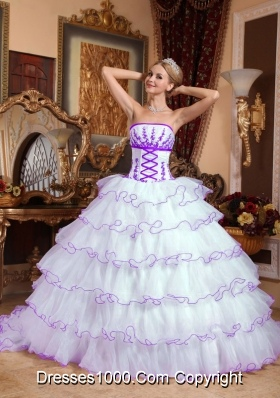 Strapless Detachable Train Organza Appliques White Quinceanera Dress with Layers