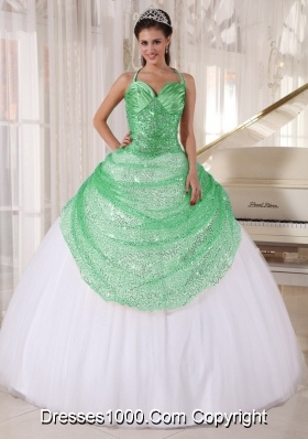 White Halter Top Apple Green Sequin Appliques Quinceanera Dress