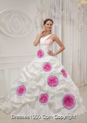 White One Shoulder Beading and Pink Hand Made Flowers Dresses For a Quince