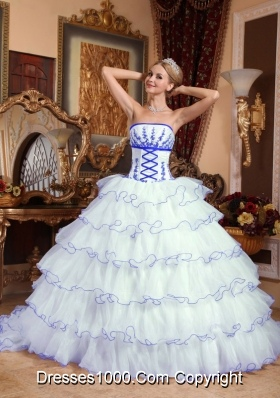 White Strapless Detachable Train Layers Sweet Sixteen Dresses with Appliques