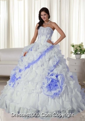 White Sweetheart Court Train Organza Appliques Dress For Quinceaneras