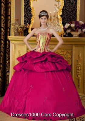2014 Ball Gown Strapless Hot Pink Quinceanera Dress with Appliques