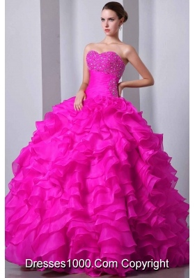 2014 Hot Pink Princess Sweetheart Quinceanea Gown with Beading