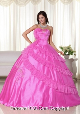 2014 Pretty Hot Pink Puffy Strapless Quinceanera Dresses with  Embroidery