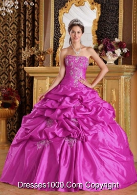 Ball Gown Strapless 2014 Quinceanera Dresses with Appliques