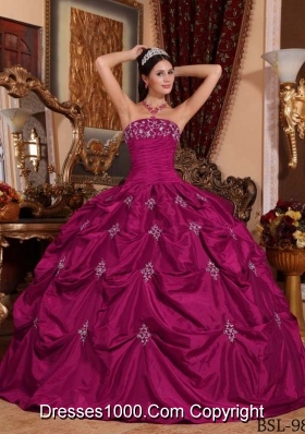 Cheap Ball Gown Strapless Appliques Quinceanera Dress for 2014