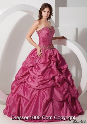 Cheap Hot Pink Ball Gown Strapless Quinceanera Dresses with Pick-ups